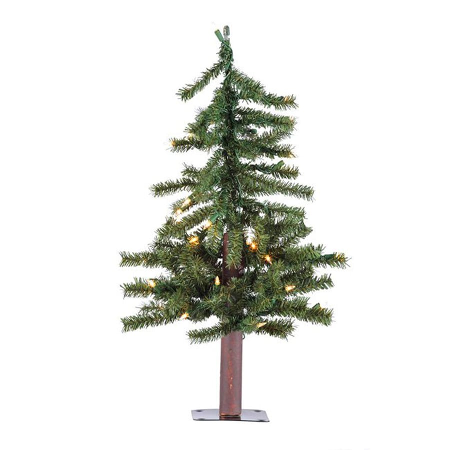 Northlight 2-ft 105-Count Pre-Lit Alpine Slim Artificial Christmas Tree with 35 Clear White Incandescent Lights