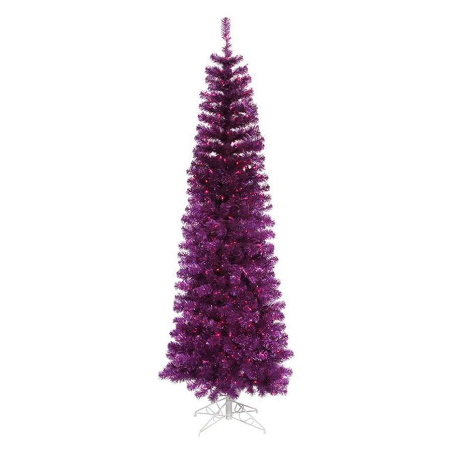 Northlight 4-ft 6-in Pre-lit Pencil Pine Slim Artificial Christmas Tree with 150 Purple Incandescent Lights