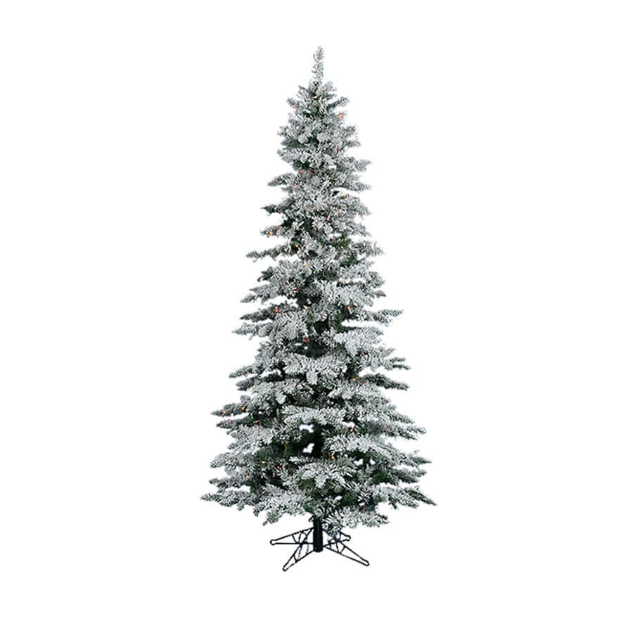 String Lights On Artificial Christmas Tree : Shop Northlight 6-ft 6-in 744-Count Pre-Lit Utica Fir Slim Flocked Artificial Christmas Tree ...