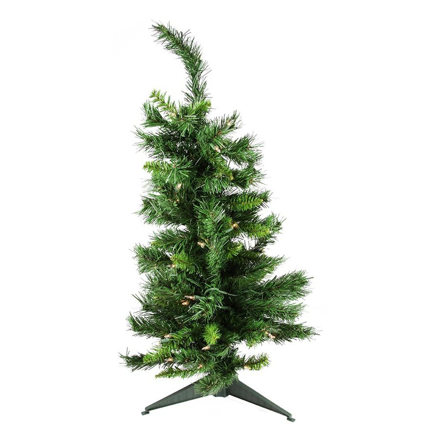 Northlight 2-ft 6-in Pre-lit Imperial Pine Slim Artificial Christmas Tree with 50 Clear White Incandescent Lights