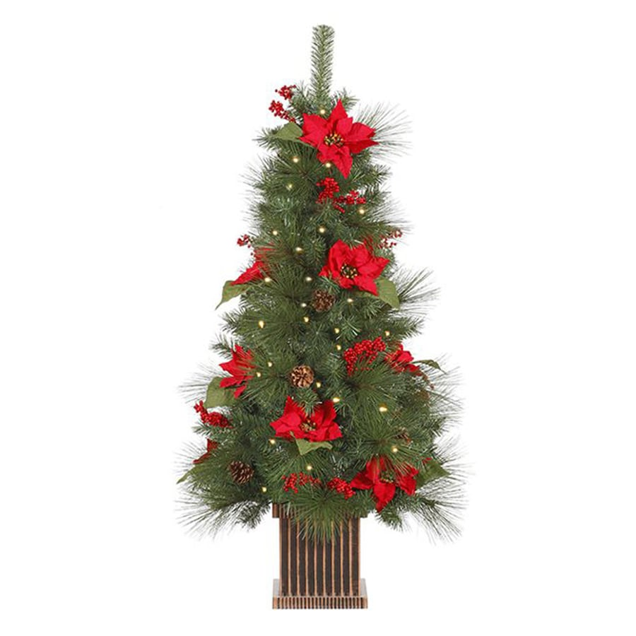 Northlight 4-ft Pre-lit Pinehurst Spruce Slim Artificial Christmas Tree with 100 Clear White Incandescent Lights