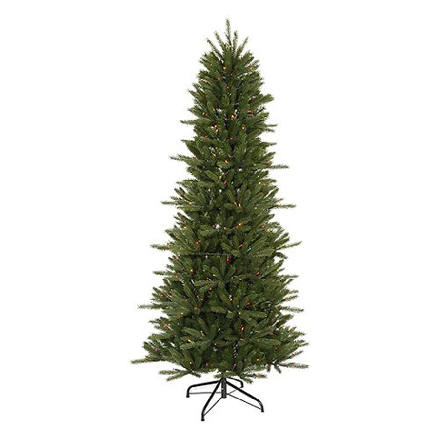 Northlight 7-ft 6-in Pre-lit Vermont Fir Slim  Artificial Christmas Tree with 550 Multicolor Incandescent Lights