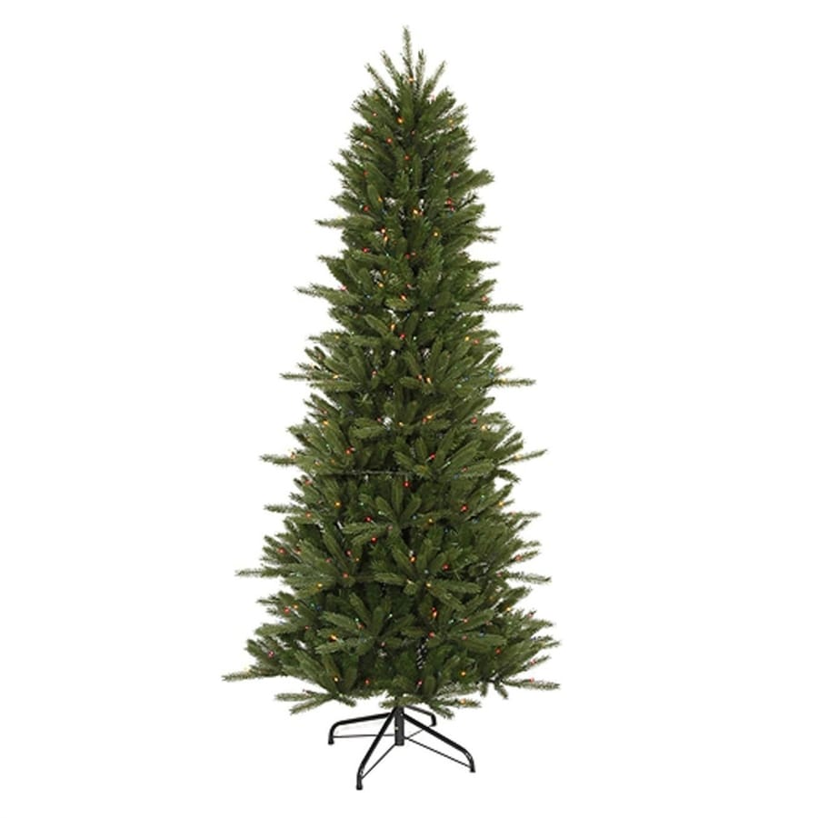Northlight 6-ft 6-in Pre-lit Vermont Fir Slim  Artificial Christmas Tree with 450 Multicolor Incandescent Lights