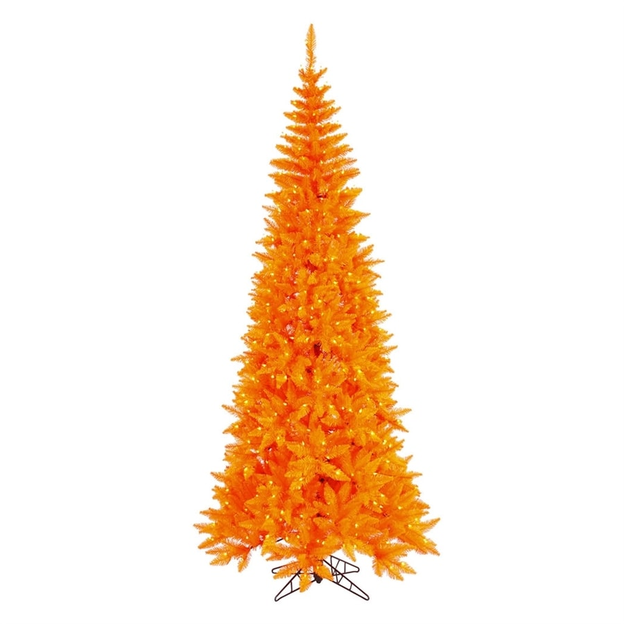 Northlight 7-ft 6-in Pre-lit Whimsical Slim Artificial Christmas Tree with 500 Orange Incandescent Lights