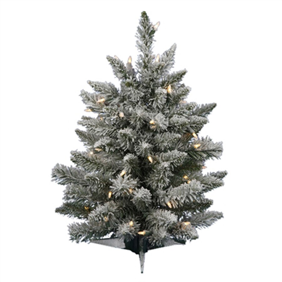 Northlight 2-ft Pre-lit Sugar Pine Flocked Artificial Christmas Tree with 50 Clear White Incandescent Lights