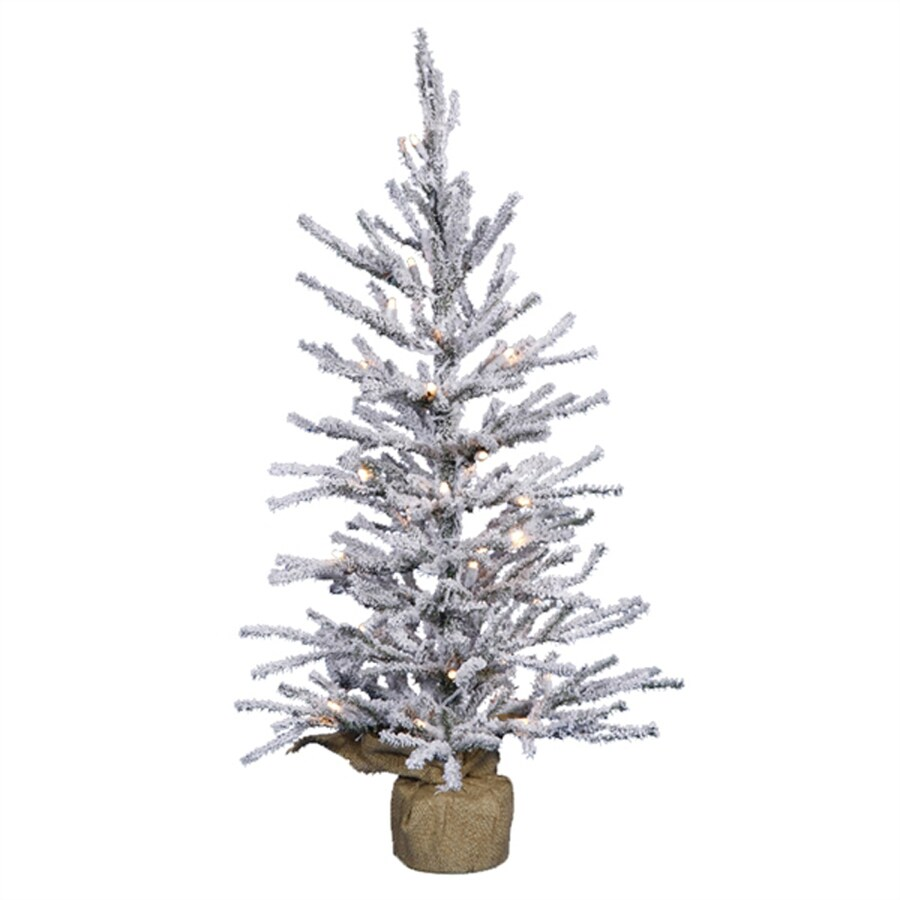 Northlight 2-ft 6-in Pre-lit Slim Flocked Artificial Christmas Tree with 35 Clear White Incandescent Lights