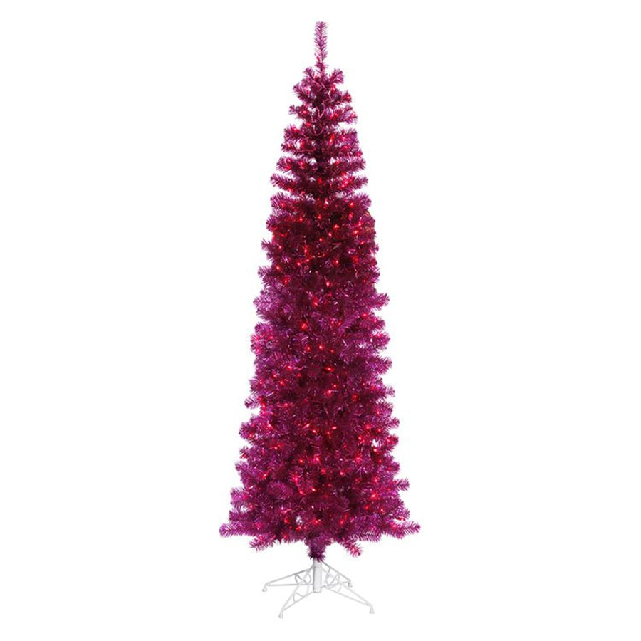 Northlight 5-ft 6-in 449-Count Pre-Lit Pencil Pine Slim Artificial Christmas Tree with 250 Pink Incandescent Lights