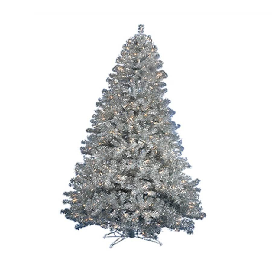 Shop Northlight 7-ft Pre-lit Tinsel Artificial Christmas Tree with ...