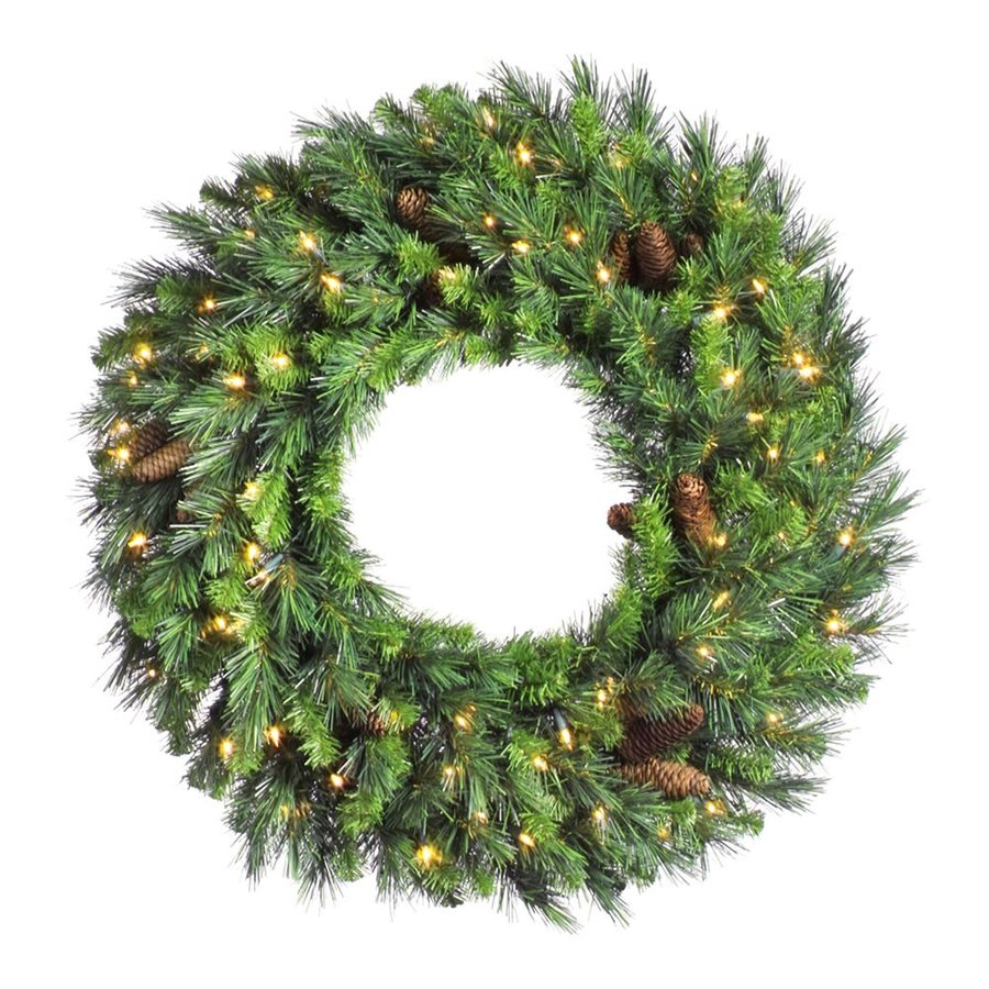 Northlight 30-in Pre-lit Indoor Pine Artificial Christmas Wreath with Clear White LED Lights