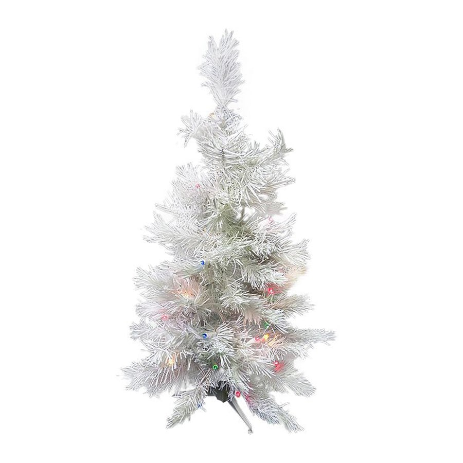 northlight 3 ft pre lit slim artificial christmas tree with 100 constant multicolor led