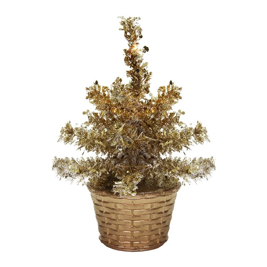 Northlight 8-in Pre-Lit Tinsel Slim Artificial Christmas Tree with 5 Warm White Incandescent Lights