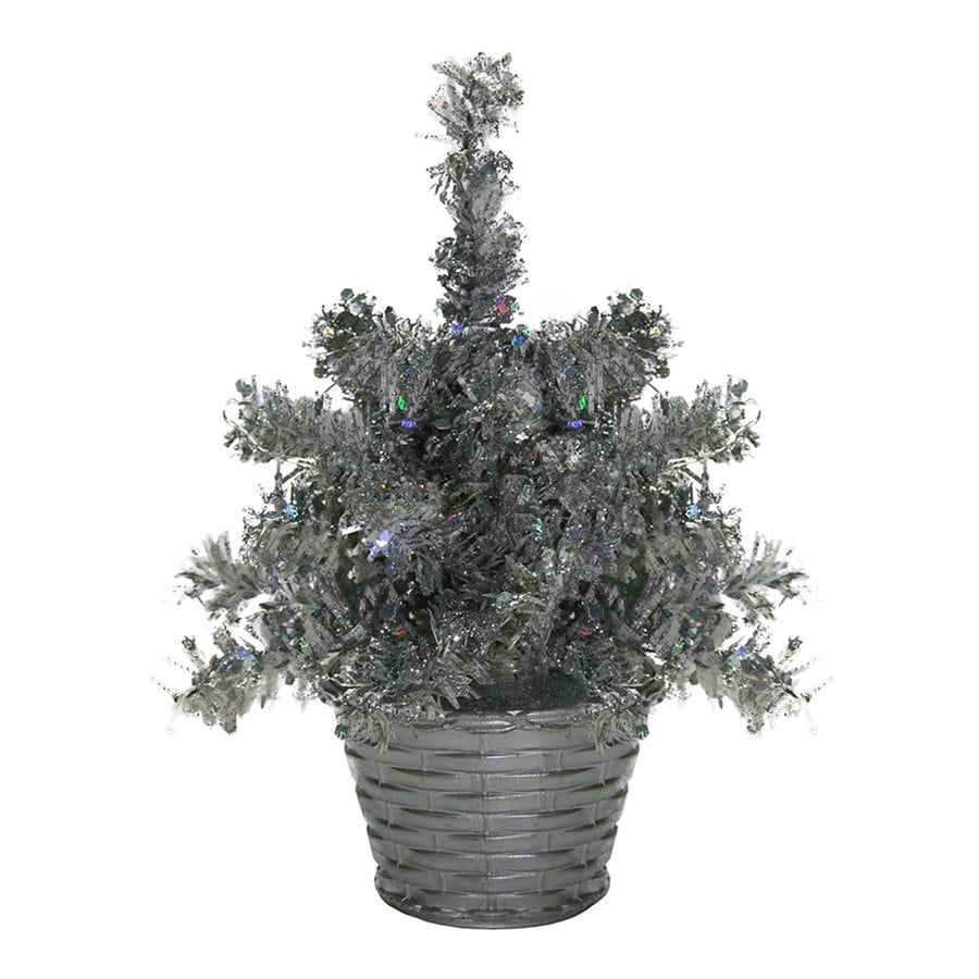 Northlight 8-in Pre-lit Tinsel Slim Artificial Christmas Tree with 5 Cool White LED Lights