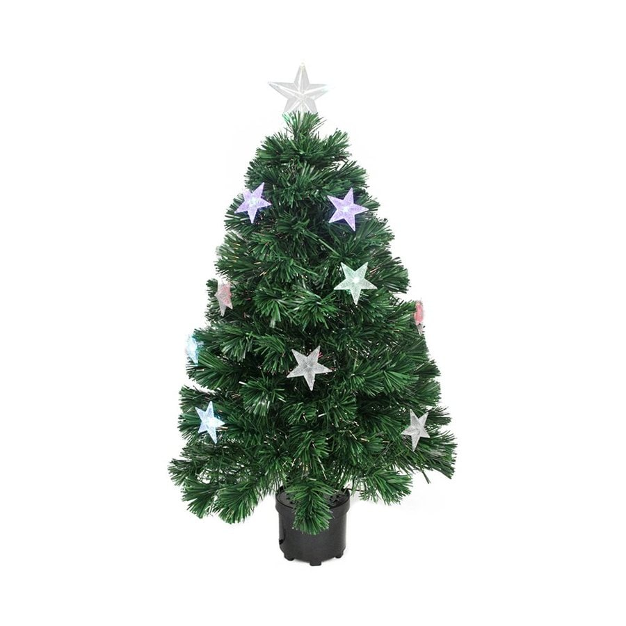 Northlight 3-ft Pre-lit Whimsical Slim Artificial Christmas Tree with Color Changing Fiber Optics and 18 Multicolor LED Lights