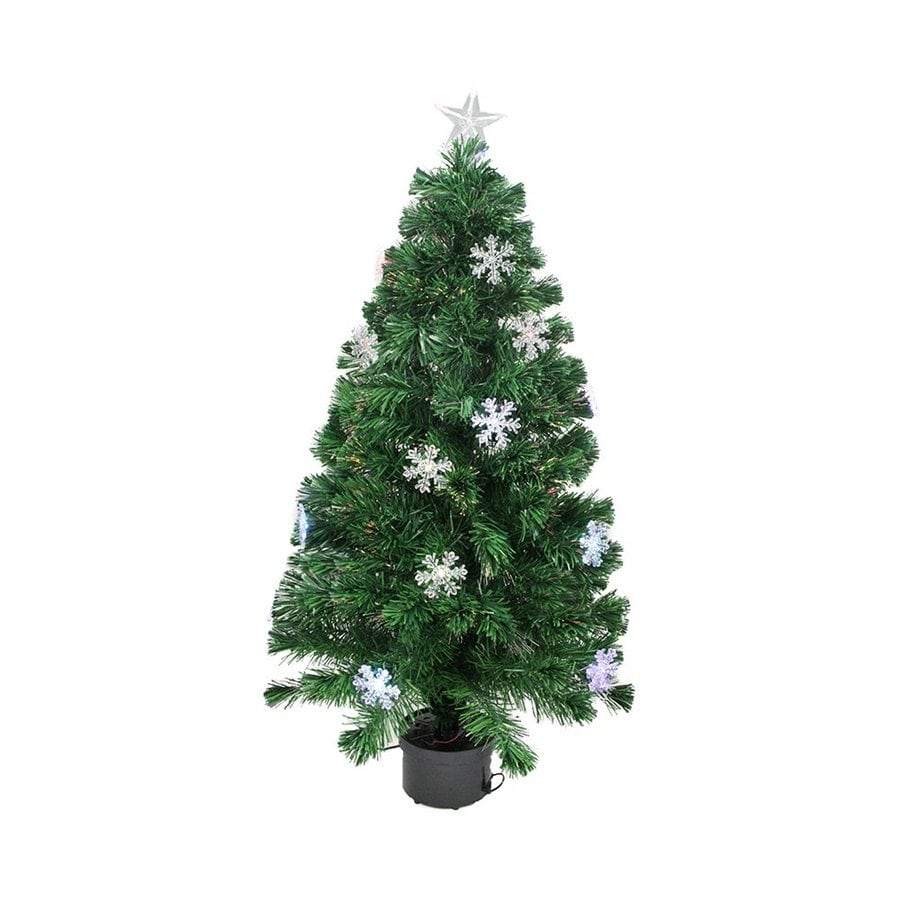 Northlight 3-ft Pre-lit Whimsical Slim Artificial Christmas Tree with Color Changing Fiber Optics