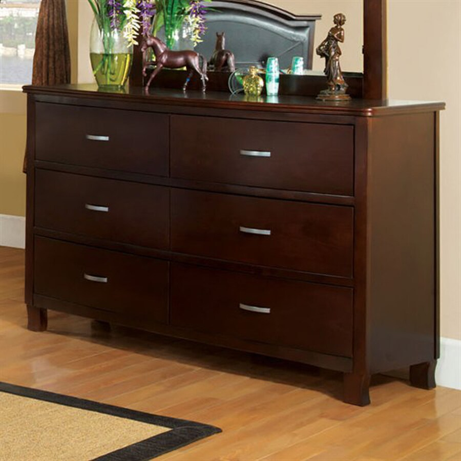 Furniture of America Crest View Brown Cherry 6-Drawer Double Dresser