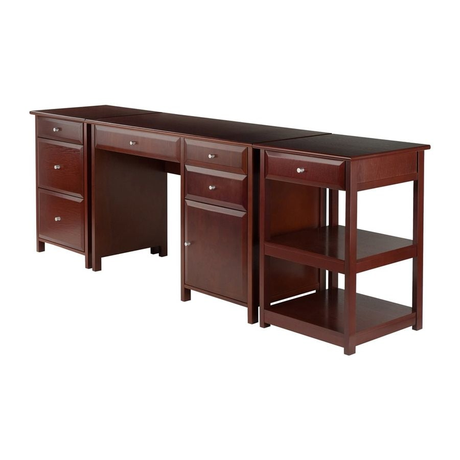Winsome wood delta 3 piece walnut home office furniture set