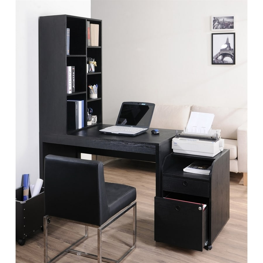 Shop enitial lab ruben 2 piece black contemporary modern home office furniture set at - Home office desk furniture sets ...