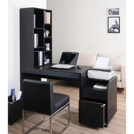 Enitial Lab Ruben 2 Piece Black Contemporary/Modern Home Office Furniture  Set