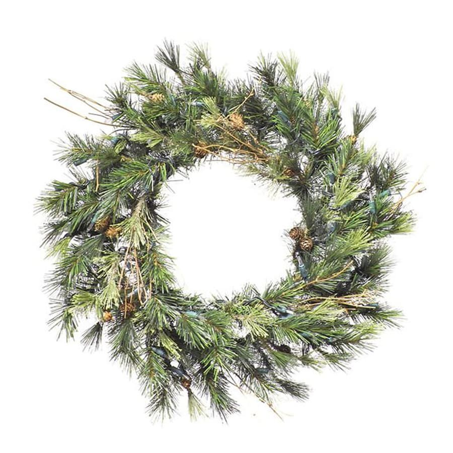 Northlight 16-in Pre-lit Indoor Pine Artificial Christmas Wreath with Clear White Lights