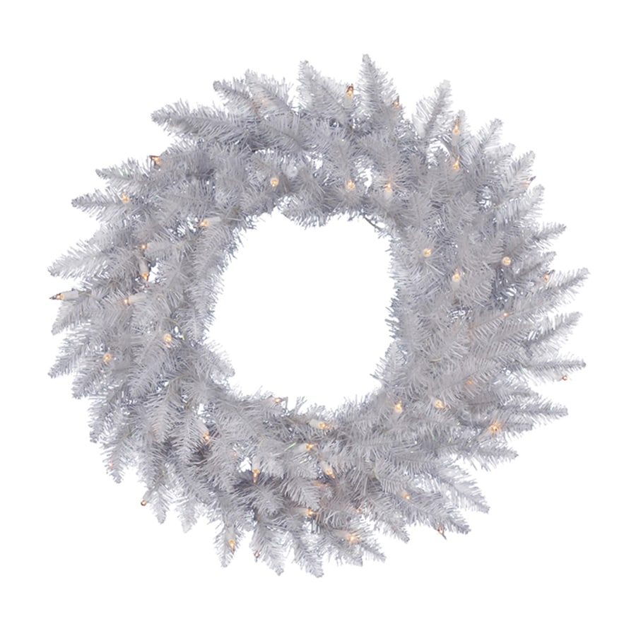 Northlight 36-in Pre-lit Indoor Sparkle White Spruce Artificial Christmas Wreath with Clear White Lights