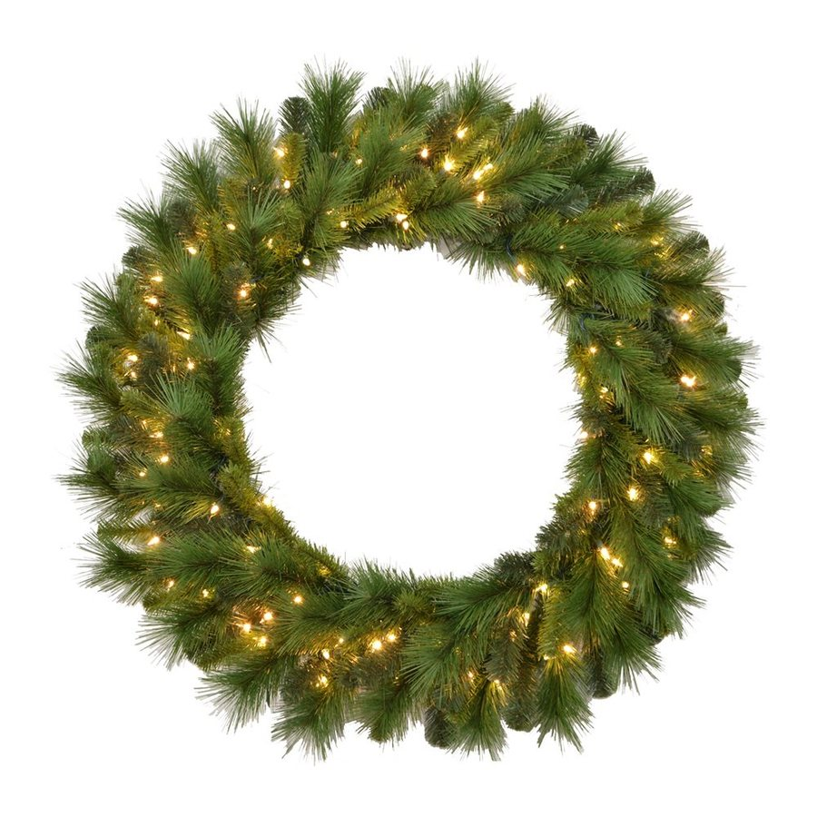 Santa's Workshop 36-in Pre-lit Indoor/Outdoor Electrical Outlet 2-tone Green Mixed Pine Artificial Christmas Wreath with Warm White Incandescent Lights