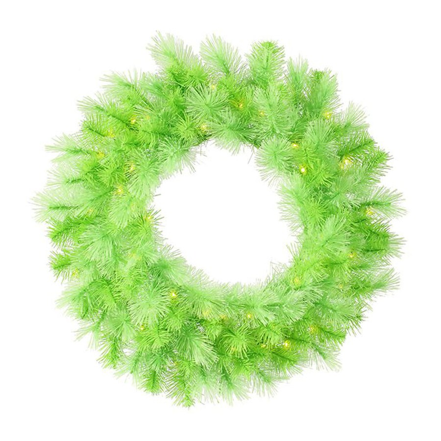 Northlight 30-in Pre-lit Indoor Lime Green Artificial Christmas Wreath with Clear White Lights