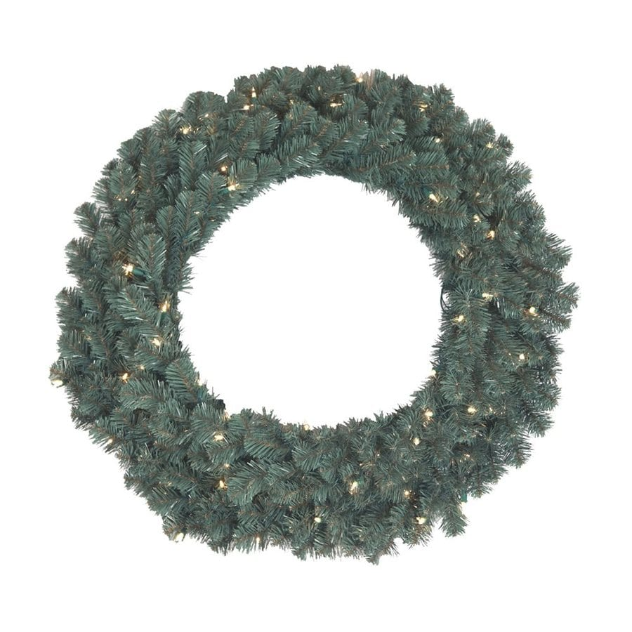 Santa's Workshop 30-in Pre-lit Indoor/Outdoor Electrical Outlet Green with Blue-gray Tint Spruce Artificial Christmas Wreath with Warm White Incandescent Lights