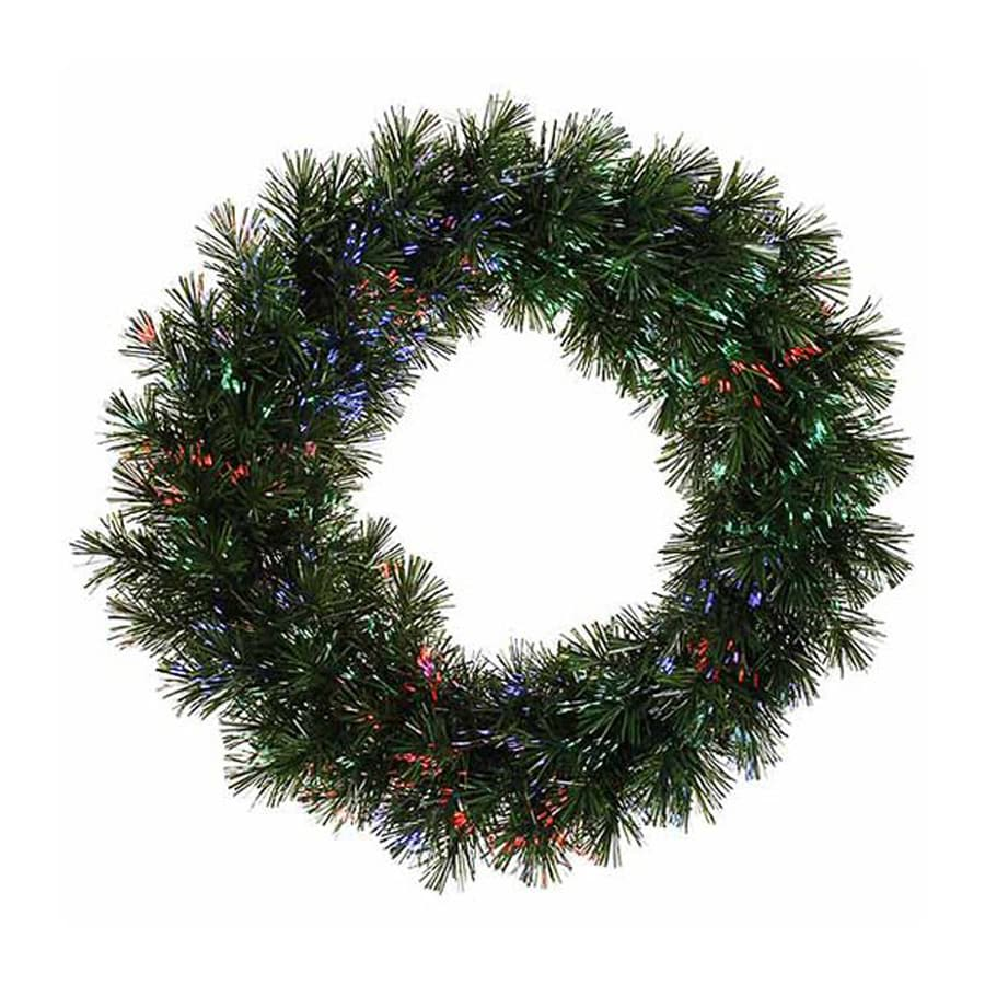Northlight 30-in Pre-Lit Indoor Pine Artificial Christmas Wreath with Multicolor Fiber Optic Lights