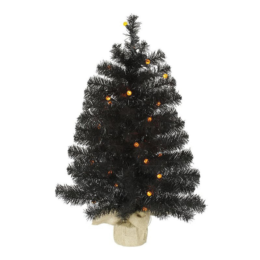 Northlight 2-ft 6-in Pre-Lit Whimsical Black Artificial Halloween Tree with Orange LED Lights