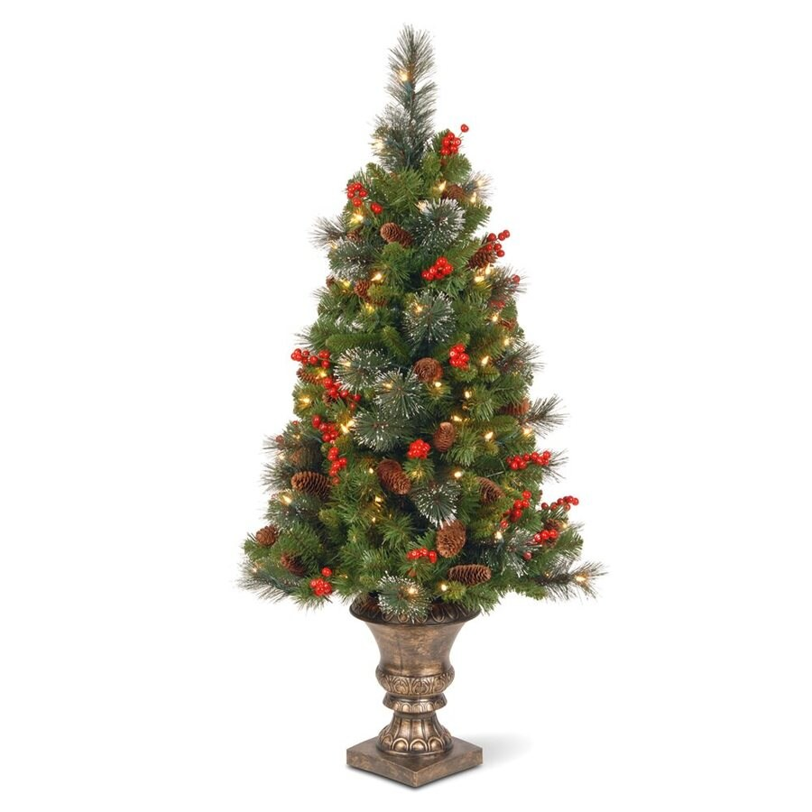 National 4-ft Pre-Lit Slim Artificial Christmas Tree with 100 Clear White Lights