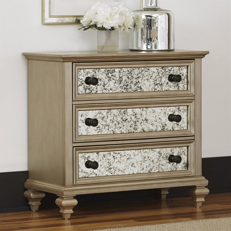 Home Styles Visions Silver/Gold Champagne Mahogany 3-Drawer Accent Chest