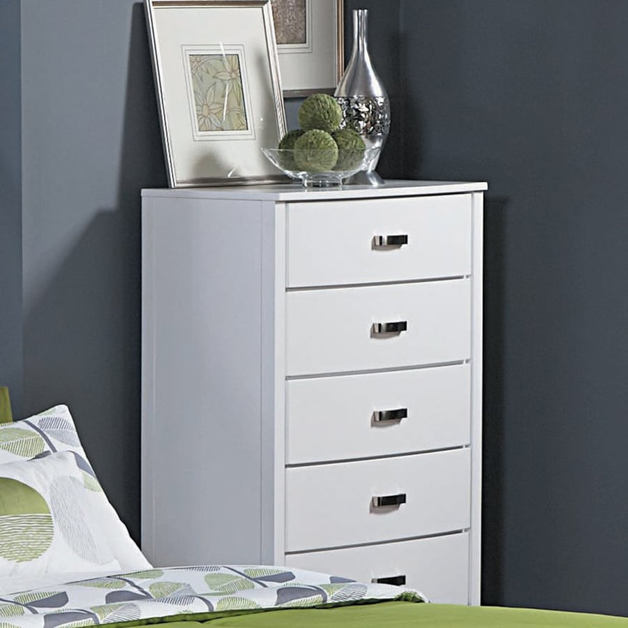 Homelegance Lyric Glossy White Asian Hardwood 5-Drawer Chest