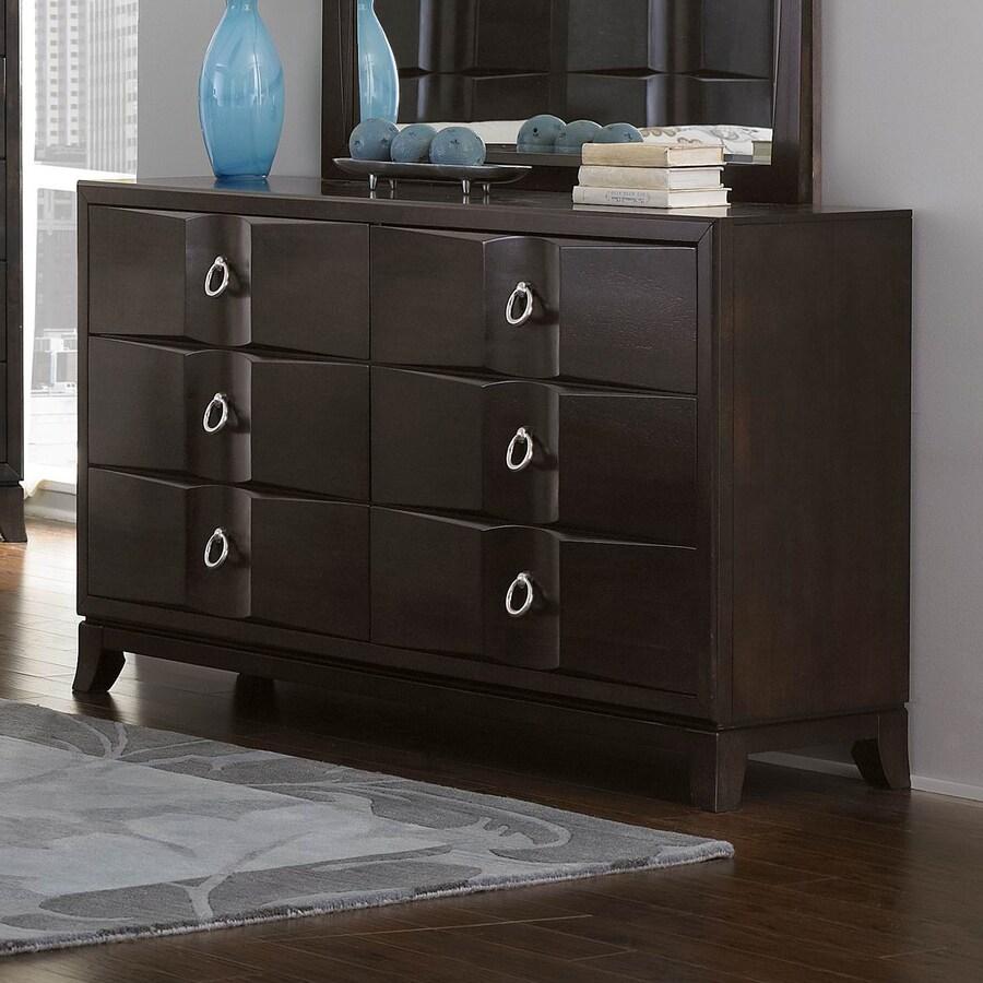 Homelegance Edmonston Rich Espresso Rubberwood 6-Drawer Double Dresser