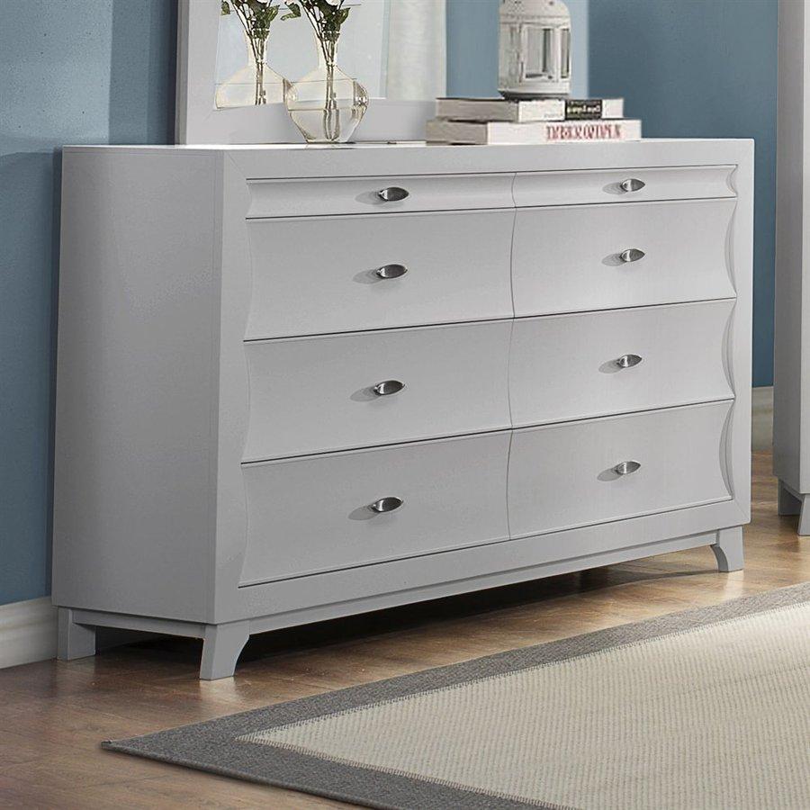 Homelegance Zandra Pearl White Rubberwood 8-Drawer Double Dresser