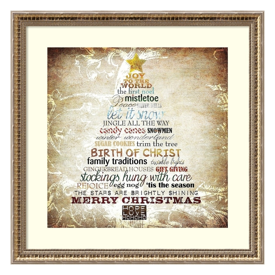 Shop Amanti Art 22.13-in Champagne Gold Framed Christmas Tree Wall ...