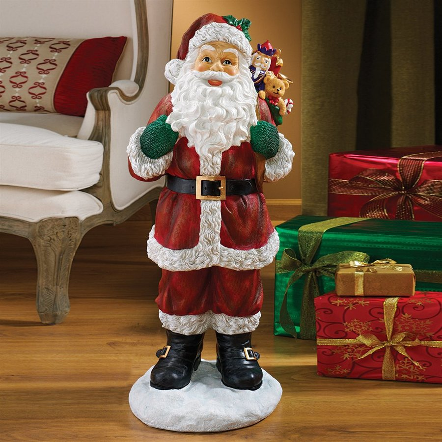 Design Toscano 32 In Multicolor Santa Statue Greeter At