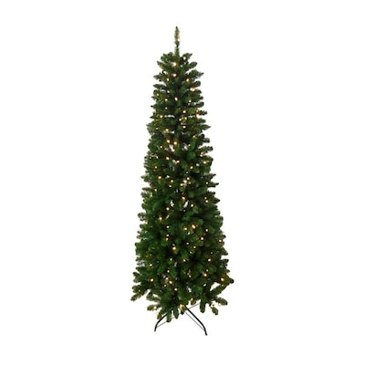 info for f182b 62b8e 6.5-ft Pre-lit Pencil Pine Slim Artificial Christmas Tree with 250 Constant  White Clear Incandescent Lights