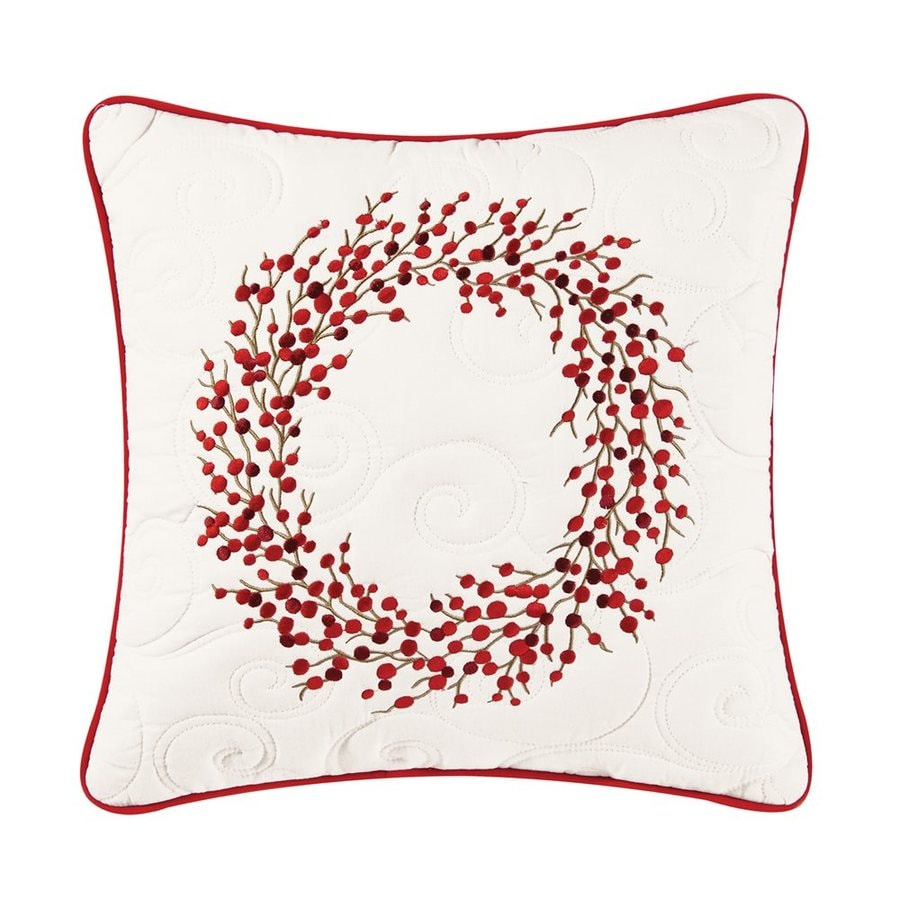 C&F Enterprises Embroidered Berry Wreath Christmas Pillow