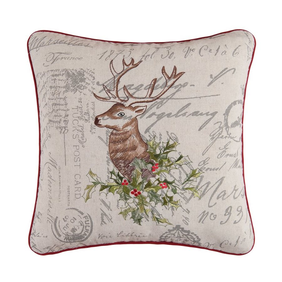 C&F Enterprises Embroidered Holiday Reindeer Pillow