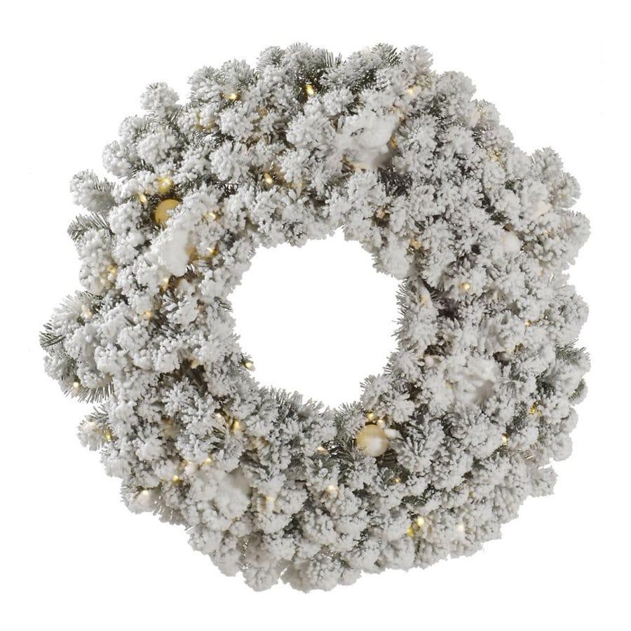 Shop Vickerman 30-in Pre-lit Artificial Christmas Wreath White Warm ...