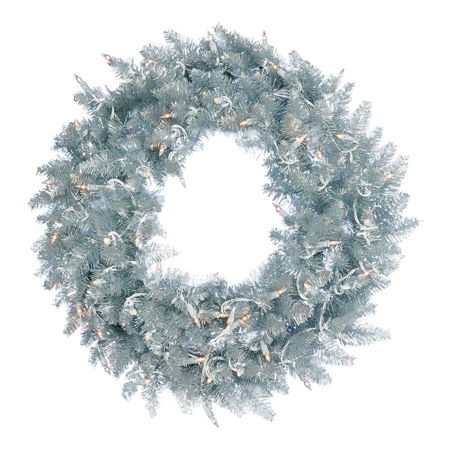 Shop Vickerman 24-in Pre-lit Indoor Silver Artificial Christmas ...