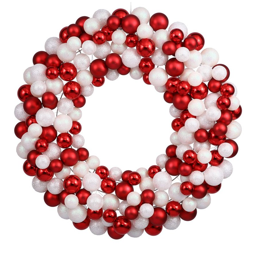 Vickerman 24-in  Candy Cane Ornament Artificial Christmas Wreath Lights