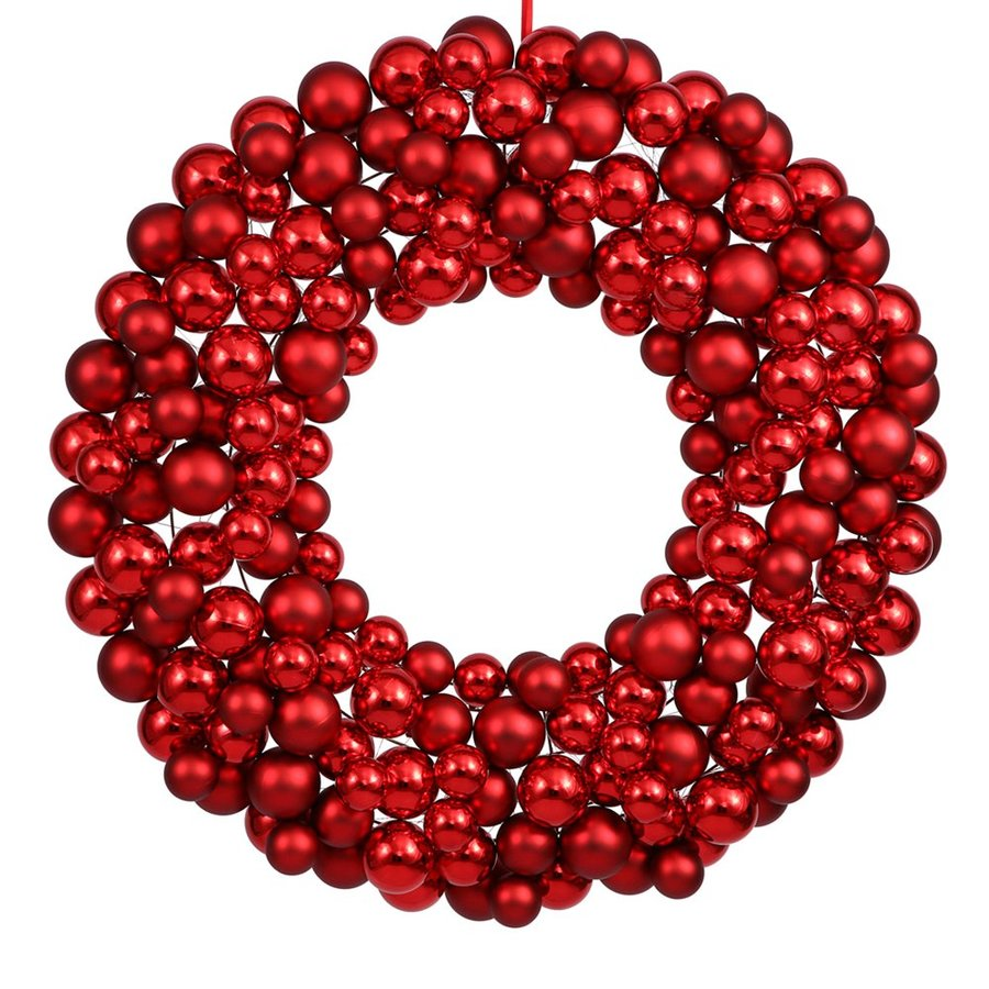 Vickerman 24-in  Red Ornament Artificial Christmas Wreath Lights