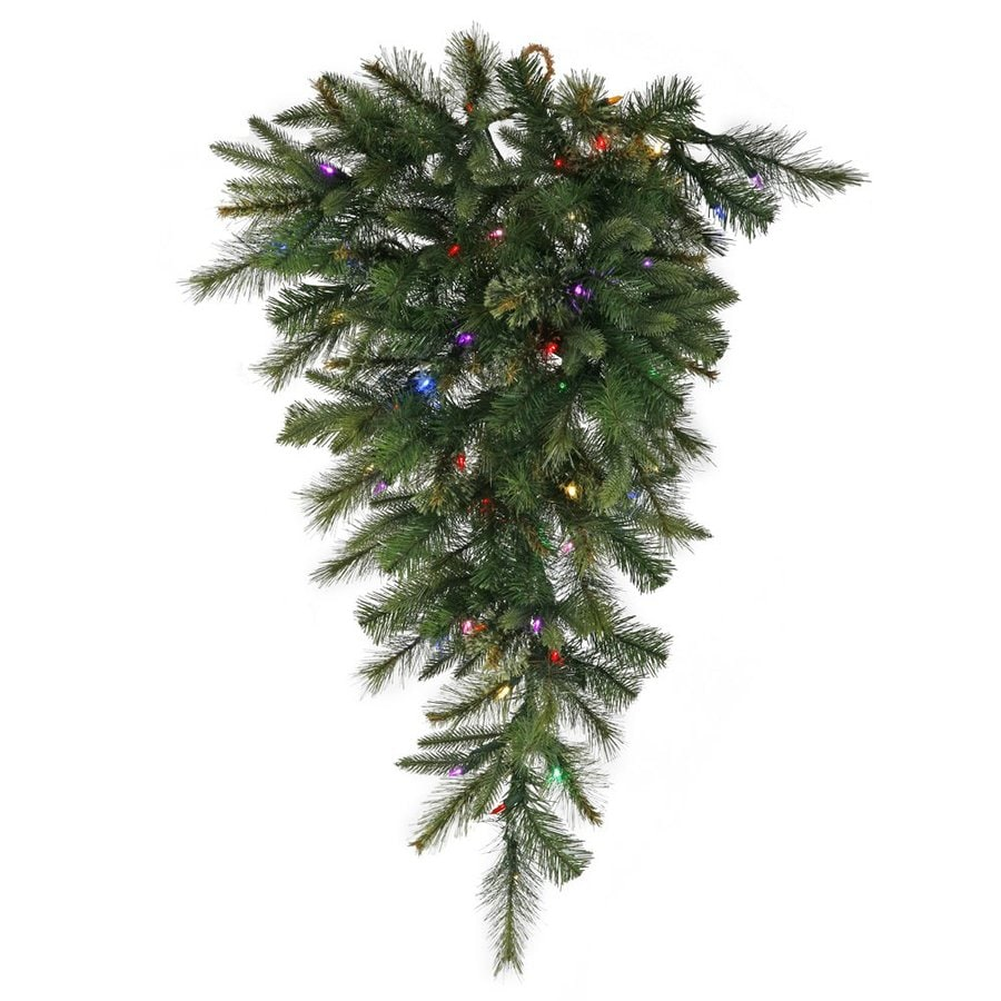 Vickerman 3-ft Pre-lit Upside-down Artificial Christmas Tree with 50 Multicolor LED Lights