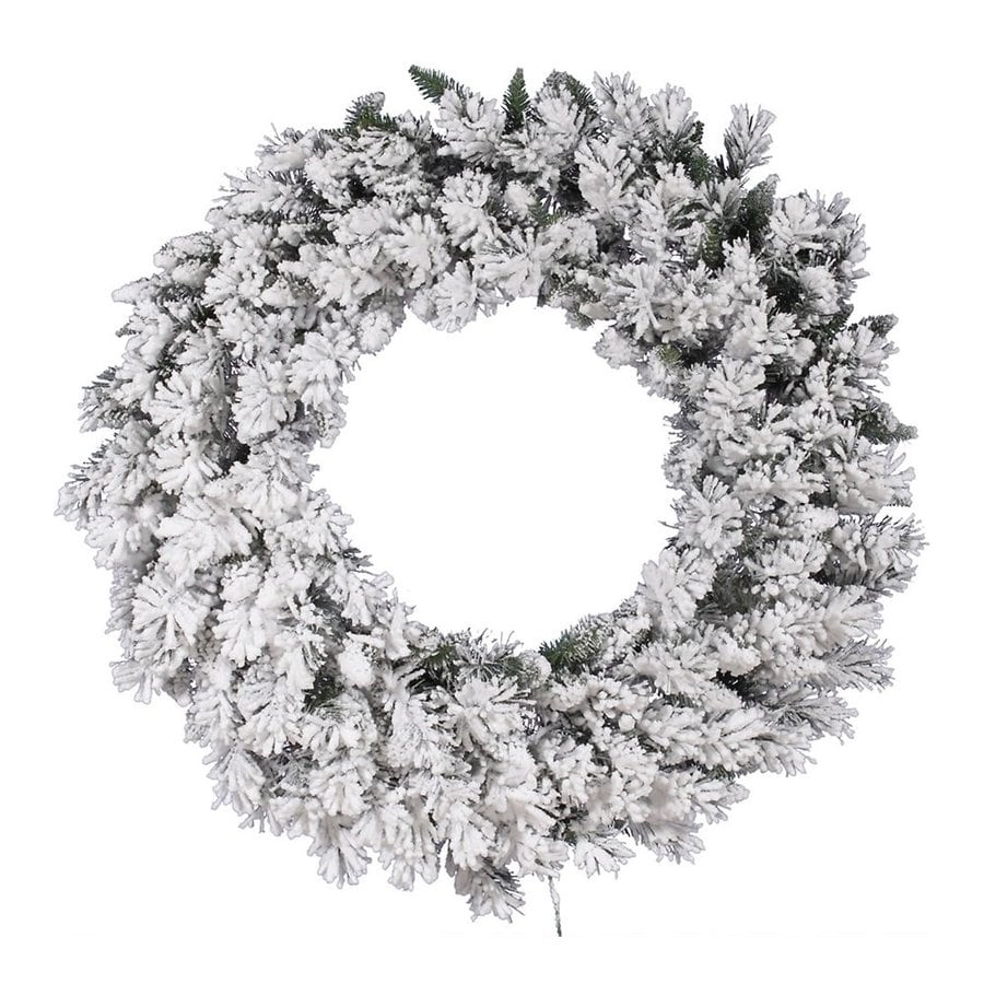 Shop Vickerman 42-in White/green Frosted Artificial Christmas Wreath ...