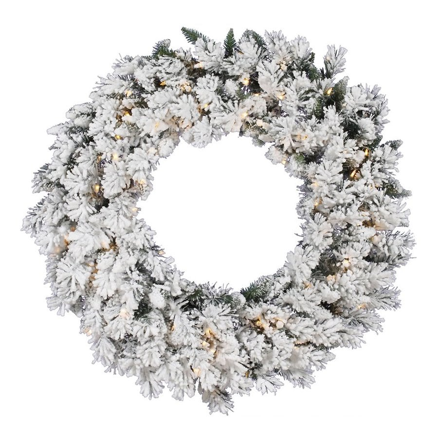 vickerman 42 in pre lit artificial christmas wreath white clear incandescent lights - How To Decorate Artificial Christmas Wreath