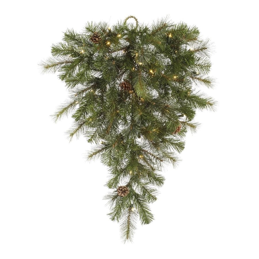 Vickerman 2.67-ft Pre-lit Mixed Needle Upside-down Artificial Christmas Tree with 50 Clear White Incandescent Lights