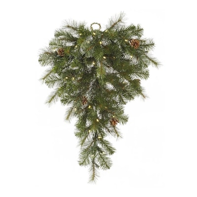 Vickerman 2.67-ft Pre-lit Mixed Needle Upside-down Artificial Christmas Tree with 50 Constant ...