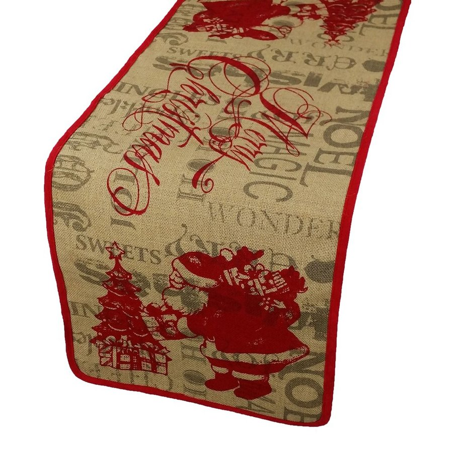 XIA Home Fashions Brown Santa Merry Christmas Table Runner