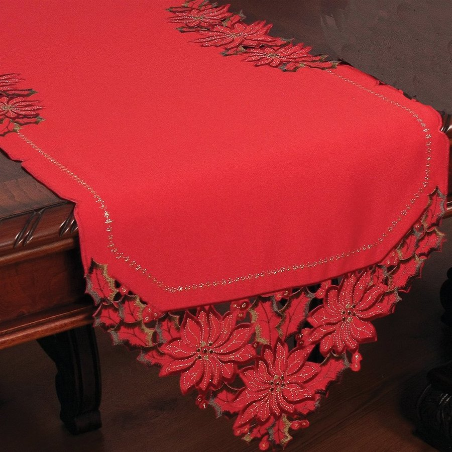 XIA Home Fashions Poinsettia Table Runner